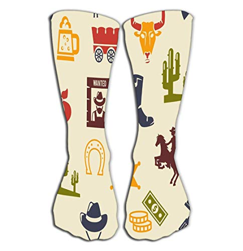 Adigao Hohe Socken Outdoor Sports Men Women High Socks Stocking Western Rodeo Background Pattern Colored Silhouette Icons Wagon Bull Cowboy Stetson Boot Necktie Ideal Tile Length 19.7
