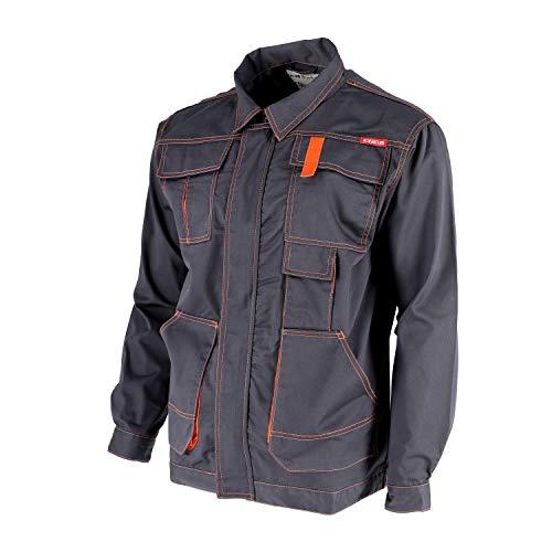 KREXUS Herren Arbeitsjacke Grau mit Orange Gr. M EX10401M