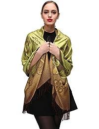Damen Schultertuch Stola - Eleganter Pashmina Schal mit floralem Muster in vielen Farben