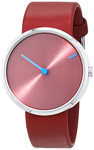Jacob Jensen Jacob Jensen Curve 255 unisex quartz Watch with red Dial analogue Display and red leather Strap 255