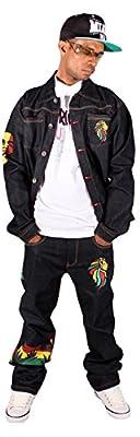 Money Talks Mens Boys Rasta One Love Star Hip Hop Denim Set Jeans Time Is G Nappy