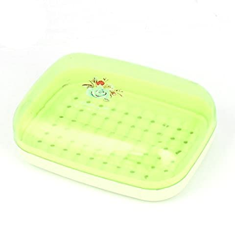 DealMux Flower Prints PP Home Bathroom Hollow Out Base Soap Box Holder Case Container Green