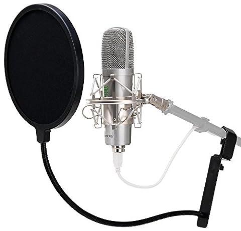 Pronomic USB-M 910 Podcast Kondensator Mikrofon für Studio-Aufnahmen inkl. Spinne und Popkiller (Plug & Play, 16mm Kapsel, Nierencharakteristik, 20Hz - 18KHz, inkl. Mikro Popschutz) silber