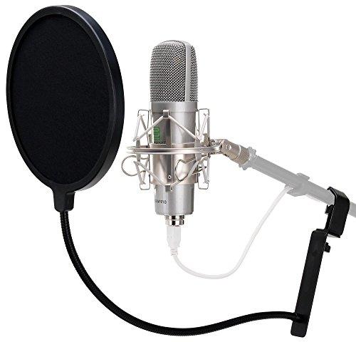 Pronomic USB-M 910 Podcast Kondensator Mikrofon für Studio-Aufnahmen inkl. Spinne, Mikrofonstativ und Popkiller (Plug & Play, Nierencharakteristik, inkl. Tischstativ und Mikro Popschutz) silber