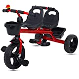 #7: Baybee 2 in 1 Twinker Bell Baby Tricycle Safety Double Seat with Basket - Red
