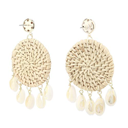Haludock Damen Böhmischer Retro Style handmade Rattan Shell Geometric Round Jewelry Ohrringe -
