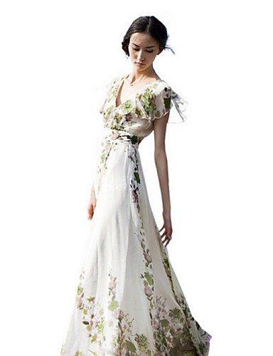 PU&PU Robe Aux femmes Swing Street Chic,Fleur V Profond Maxi Polyester WHITE-3XL