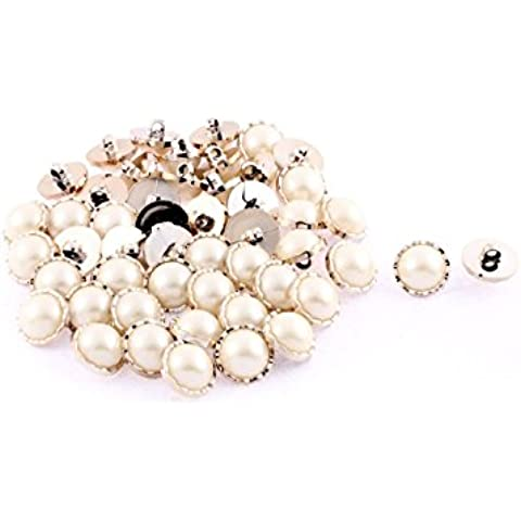 Plástico perlas de imitación adorno ropa botón de la chaqueta 20mm Dia 50 PC