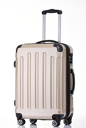 BEIBYE Zwillingsrollen 2048 Hartschale Trolley Koffer Reisekoffer in M-L-XL-Set in 17 Farben (Champagner, L)