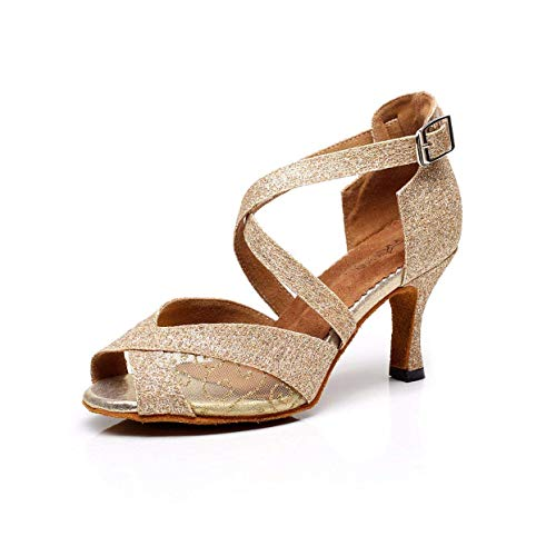Frauen Peep Toe High Heel Satin Floral Salsa Tango Ballsaal Latin Ankle Wrap Tanzsandalen, Gold-Absatz 6cm-UK2.5 / EU32 / Our33 Satin Ankle Wrap