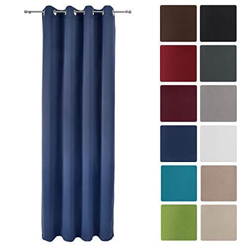 Beautissu tenda oscurante con occhielli serie amelie bo - 140x245 cm - blu - per finestre e balconi