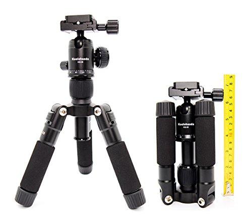 Koolehaoda Travel Portable H-50 Mini Stativ Compact Desktop Makro Mini Stativ mit Kugelkopf für DSLR Kamera Canon Nikon (H-50)