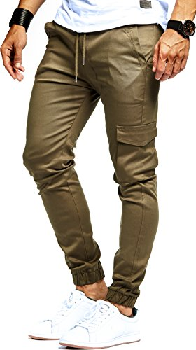 LEIF NELSON Herren Jogger Chino Cargo Jeans Hose Freitzeithose LN8071; Gršsse L; Khaki