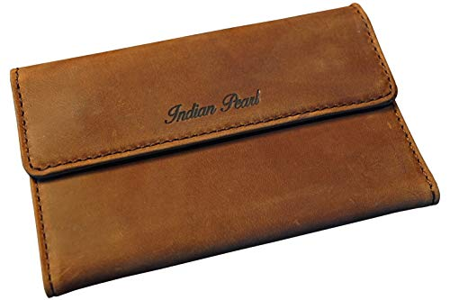 Indian Pearl Indian Pearl Tabaktasche, braune Drehertasche aus Echtleder, Doppel-Blättchenfach, Tabak-Beutel mit Magnetverschluß und Extra-Filterfach
