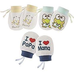 Hifot Guantes de algodón para bebés recién nacidos Sin mitones de Scratch 3 pares, Infant Toddler Boys Girls mitones antiarañazos suaves para el cuidado del bebé