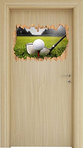 Geburtstag Golf Shirt (Golf Abschlag Schwarz/Weiß Holzdurchbruch im 3D-Look , Wand- oder Türaufkleber Format: 62x42cm, Wandsticker, Wandtattoo, Wanddekoration)