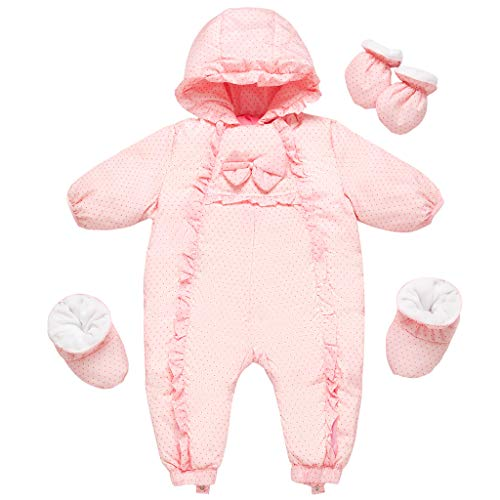 Baby Mädchen Schneeanzüge Winter Overall mit Kapuze Handschuhe Füßlinge Daunen Strampler Prinzessin Outfit-Set, 6-9 Monate
