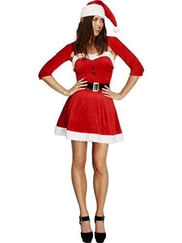 costumebakery - Damen Frauen Kostüm Kurzes Nikolaus Weihnachtsfrau Kleid mit Bolero Jacke Gürtel und Mütze, Little Miss Santa Claus, perfekt für Weihnachten Karneval und Fasching, L, ()