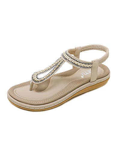 Daihan donna boemia punta della clip sandali strass perline infradito pantofole spiaggia clip toe sandali beach intrecciati elastico t-strap estate antiscivolo tacco piatto albicocca eu 39