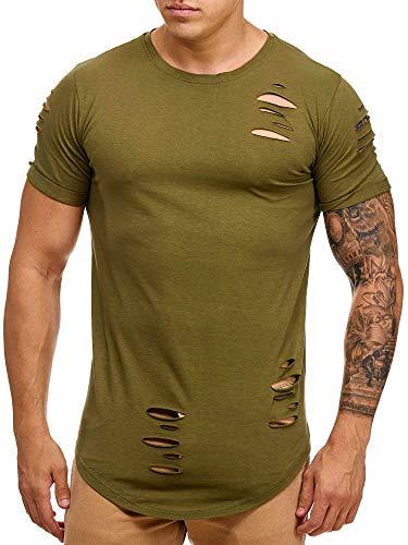 OneRedox Herren Shirt Hoodie Longsleeve Kurzarm Shirt Sweatshirt T-Shirt 9080 Grün L