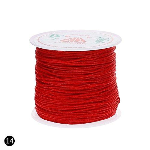 Teabelle Nylon Cord Gewinde Chinese Knoten Macrame Rattail Armband Geflochten String 0,8mm 45m/Rolle Rot (Chinesische Rote Schnur Armband)