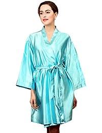 NiSeng mujer albornoces baño satín manga larga bata de baño cinturón vestido de noche