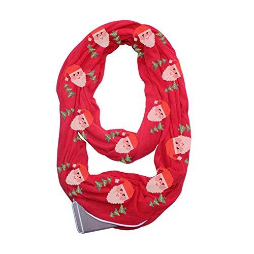 Infinity Schal Versteckte Zipper Aufbewahrungstasche für Smartphone Lippenstift Passport, leichte Santa Kopf Reise Wrap Lätzchen,Red ()