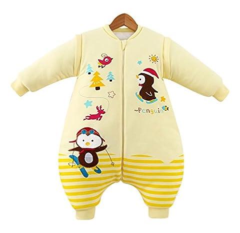 Chilsuessy Baby Schlafsack mit abnehmbar Langarm,mit Beinen,Ganzesjahr 2.5 Tog Winter Schlafsaecke,Cartoon Design, Gelb, XL-Laenge:95cm