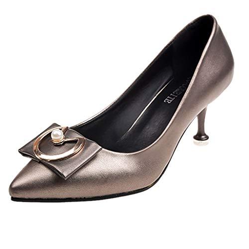 ZIYOU Damen Basic Pumps Kitten-Heel Einzelne Schuhe Niedrig Sandalen Barfußschuh Mary Jane Halbschuhe(Kaffee,38 EU)