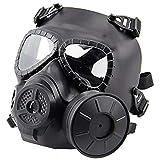 QHIU Tactical M04 Maschera Protettiva per Il Viso con Singolo Ventilatore, Anti Appannamento, per Softair, Paintball,Taglia Unica