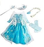 Mädchen Prinzessin Kostüm Eiskönigin Kleid für Mädchen Eisprinzessin Set aus Diadem, Handschuhe, Zauberstab Verkleidung Faschingskostüm