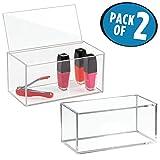 mDesign Set da 2 organizer per cosmetici - Pratici contenitori in plastica con coperchio - Portaoggetti trasparenti ideali per trucchi, cosmetici, accessori da bagno e gioielli - trasparente