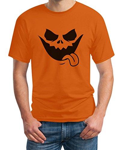 ntern Kürbis Gesicht T-Shirt Large Orange (Jack Lantern Halloween)