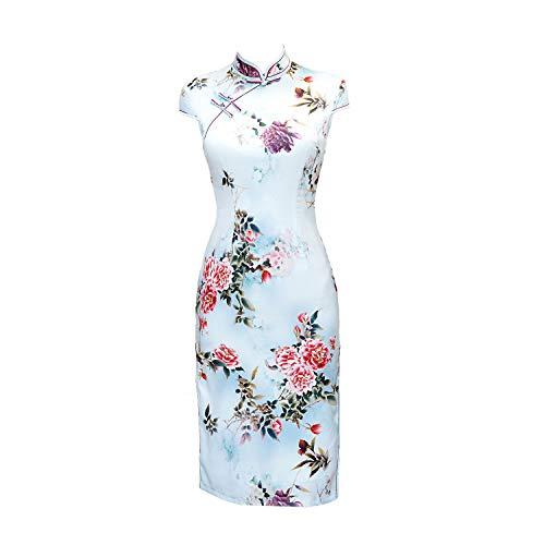 YAN Frauen chinesisches Kleid Long Cheongsam Floral Collar Evening Dress Qipao Für Hochzeitsfest, 1,XXXL Silk Floral Kleid