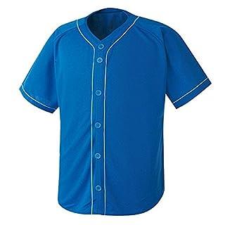 myglory77mall Men's Baseball Stripe Open Tshirts Sports Wear Jersey Shirt Top M US(XL tag Asian) All Blue