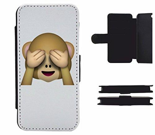 """Leder Flip Case Apple IPhone 5/ 5S/ SE """"Nichts-Böses-Sehen-Affe"""", der wohl schönste Smartphone Schutz aller Zeiten."""