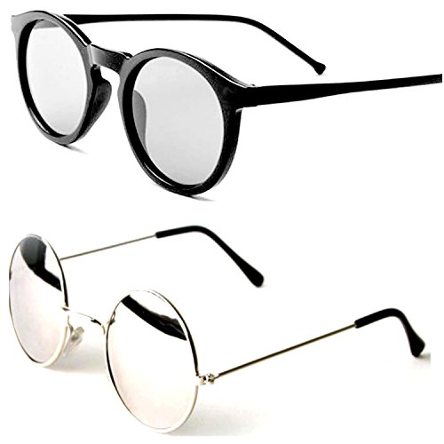 Y&S Round Mirrored Unisex Sunglasses (RS-SRW-01-17|28|Silver) - 2 Boxes