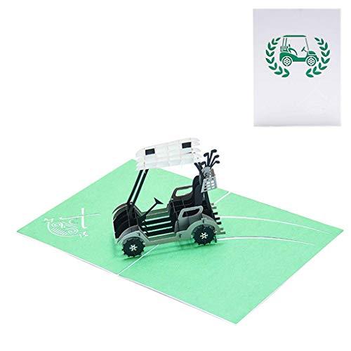 Celan Golf Cart 3D Pop Up Grußkarte, handgefertigt, für Geburtstag, Hochzeit, Einladung, Basteln