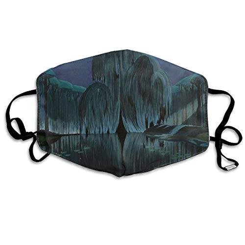 Masken für Erwachsene Waschbare wiederverwendbare MundMaskene Weeping Willows at Dusk Reusable Anti Dust Face Mouth Cover Masken Protective Breath Healthy Safety Cover Willow