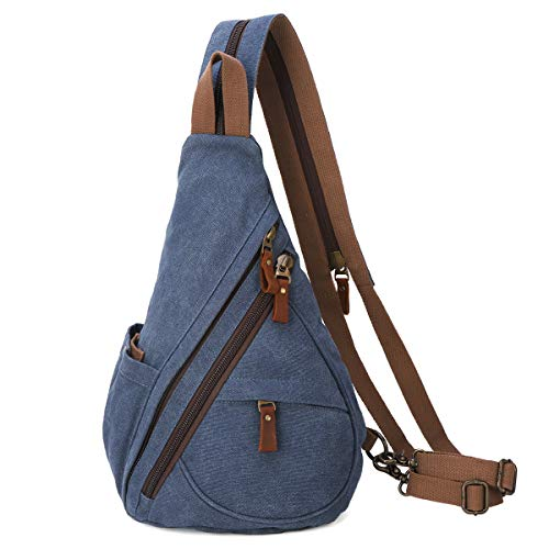 Canvas Sling Bag - Small Crossbody Backpack Shoulder Casual Daypack Chest Bags Rucksack for Men Women Outdoor Cycling Hiking Travel (6881-Blue) -