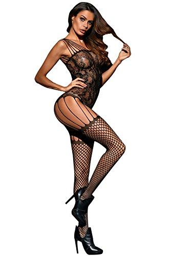 Körper Plus Größe Strümpfe (Neue Damen Plus Größe Fischnetz ouvert Body Strümpfe Catsuit Body Dessous Unterwäsche eine Größe passt XXL UK 14–16)
