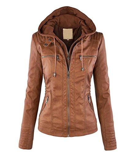 Minetom Donna Vintage Cappuccio Zipper Cardigan Invernali Cappotto Giacca Felpa Giacche Ecopelle Jacket Cachi IT (Pelliccia Bomber Giacca In Pelle)