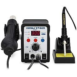 YIHUA 2 in 1 estación de soldadura soldadorestaño, aire caliente desoldadura, regulable temperatura ,8786d AC220 V 750W