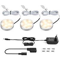 LE Schrankleuchten LED Unterbauleuchte Set, Inklusiv alle Zubehör, 120° Abstrahlwinkel, LED Lichtleiste, Küchenlampen, Vitrinenbeleuchtung (Warmweiß, 3er Pack)