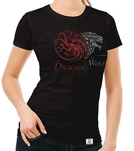 Shirtdepartment - Game of Thrones - Damen T-Shirt - Dragon and Wolf Wappen schwarz-dunkelrot XS - Wappen Schwarzes T-shirt