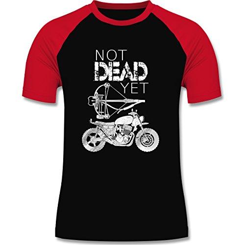 Statement Shirts - Not Dead Yet - Motorrad Armbrust - zweifarbiges Baseballshirt für Männer Schwarz/Rot