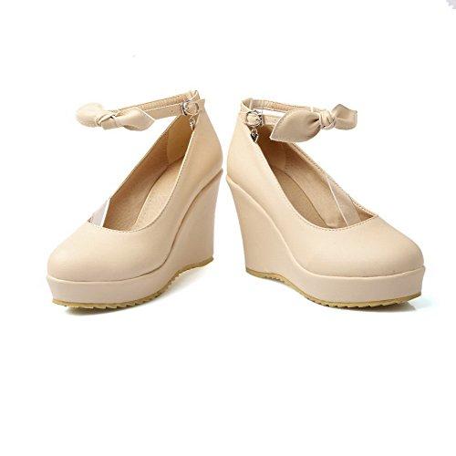 VogueZone009 Damen Schnalle Hoher Absatz Pu Leder Rein Rund Zehe Pumps Schuhe Cremefarben