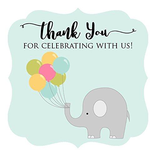 Adorebynat Party Decorations - EU Gracias por celebrar con ellos elefante pegatinas - etiquetas ducha cumpleaños del bebé en azul - Set 30