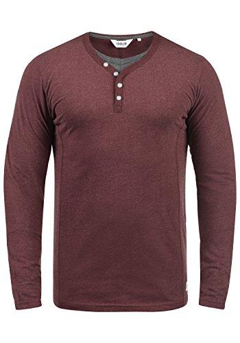 !Solid Doriano Herren Longsleeve Langarmshirt Shirt mit Grandad-Ausschnitt, Größe:3XL, Farbe:Wine Red Melange (8985)