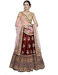 3fe95466f84 maruti fashion Women s Tafeta Satin Silk Heavy Embroidary Work Lehenga Choli  (Red Rani